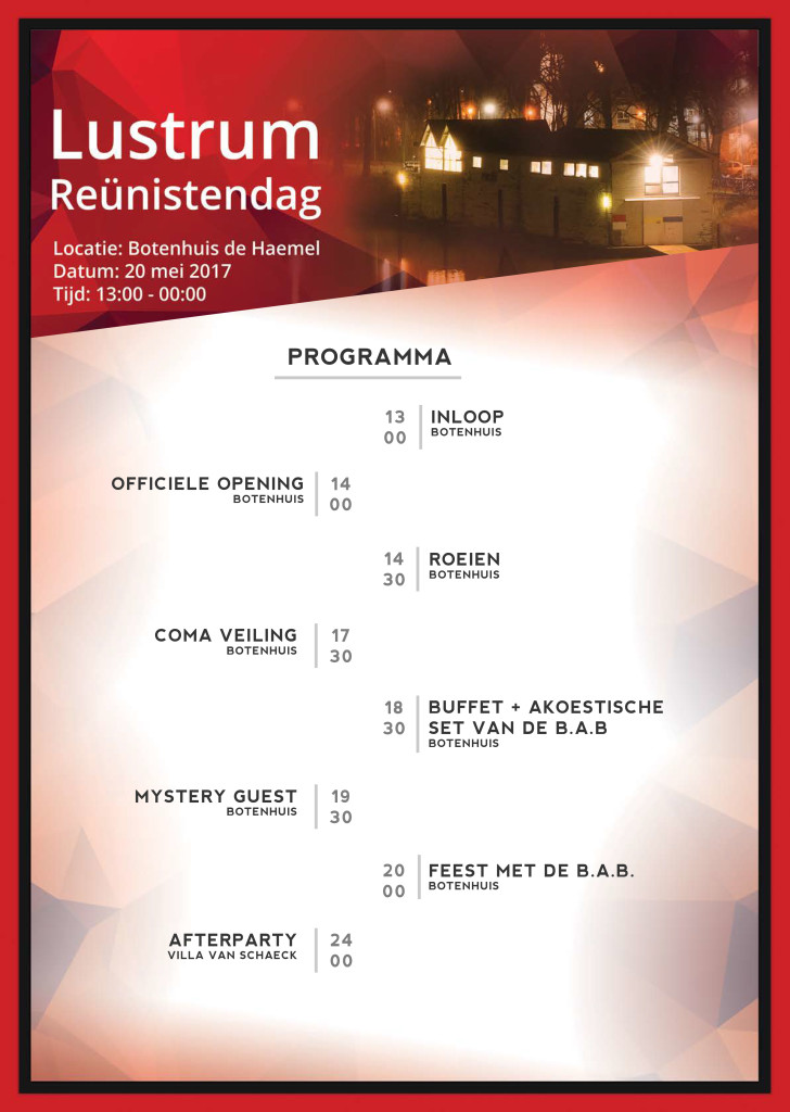 programma Lustrum Reünistendag 2017